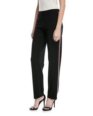 Escada Fair-Isle Straight-Leg Pants with Side Trim