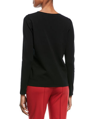 Image 2 of 2: Crewneck Long-Sleeve Grid-Stitch Pullover Top