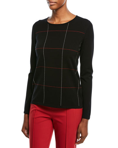 Crewneck Long-Sleeve Grid-Stitch Pullover Top