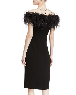 Monique Lhuillier Stretch-Crepe Illusion Sheath Dress w/ Feather