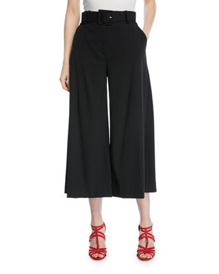 Oscar de la Renta Belted Stretch-Wool Culotte Pants