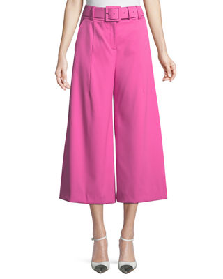 Image 1 of 3: Belted Stretch-Wool Culotte Pants