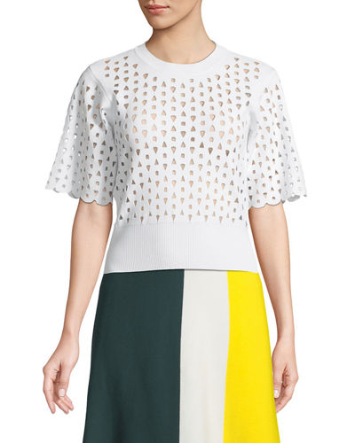 Derek Lam Short-Sleeve Crewneck Cutout Knit Top and