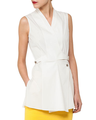 Akris Sleeveless Wrap-Front Buckle Cotton Poplin Blouse and