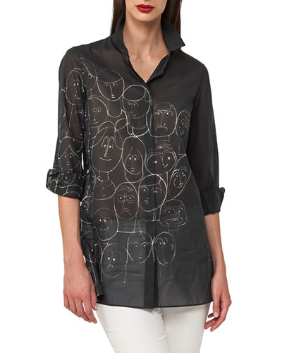 Faces-Print Cotton Voile Tunic Blouse