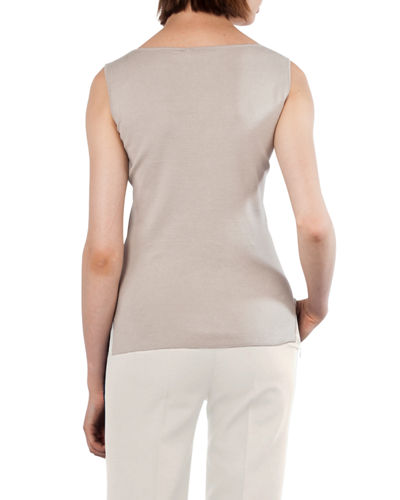 Akris Scoop-Neck Sleeveless Stretch-Knit Top