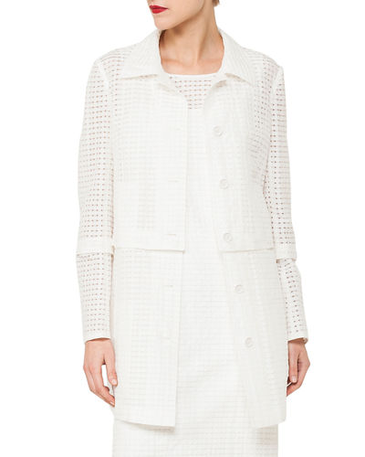 Button-Front Ajouré Silk Cotton Jacket with Detachable Hem