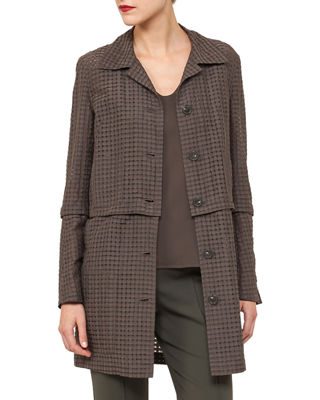 Akris Button-Front Ajoure Silk Cotton Jacket with Detachable