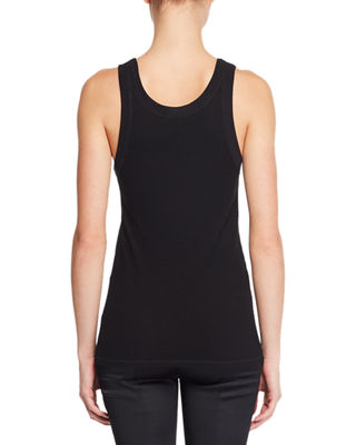 Image 2 of 2: Frankie Sleeveless Crewneck Rib-Knit Tank Top