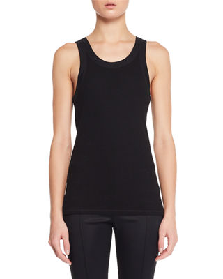 Image 1 of 2: Frankie Sleeveless Crewneck Rib-Knit Tank Top
