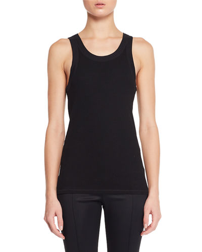 Frankie Sleeveless Crewneck Rib-Knit Tank Top