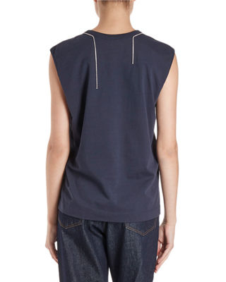Image 2 of 2: Hailstone Sleeveless Top w/ Rhinestone Neck Trim