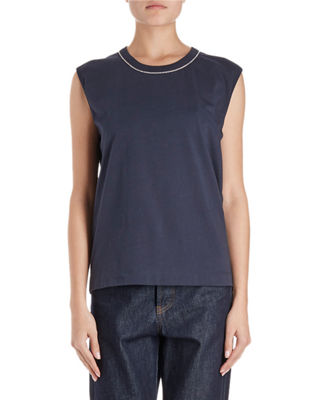 Image 1 of 2: Hailstone Sleeveless Top w/ Rhinestone Neck Trim