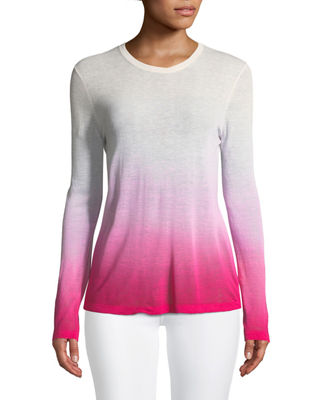 Michael Kors Collection Crewneck Long-Sleeve Ombre Linen-Blend