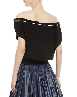 Image 2 of 2: Ruched-Neck Sleeveless Sweater Top