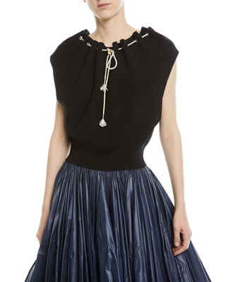 Ruched-Neck Sleeveless Sweater Top