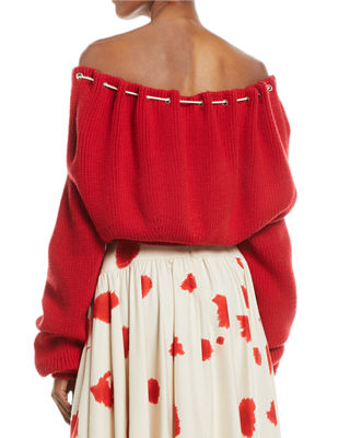 Oversized Cord-Neck Cotton Knit Sweater
