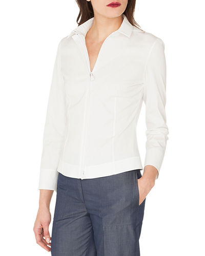 Long-Sleeve Zip-Front Stretch Cotton-Poplin Shirt
