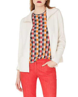 Image 1 of 2: Zip-Front Stand-Collar Cashmere Knit Cardigan