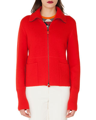 Zip-Front Stand-Collar Cashmere Knit Cardigan in Red