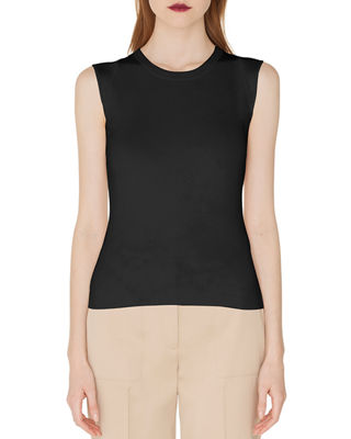 Round-Neck Silk-Stretch Knit Tank Top in Black