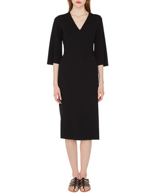 Akris V-Neck Bell-Sleeve Double-Face Wool Dress w/ Side