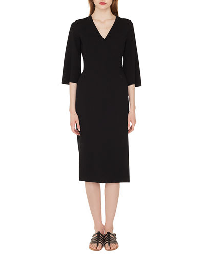 V-Neck Bell-Sleeve Double-Face Wool Dress w/ Side Slit