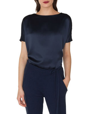 Image 1 of 2: Cap-Sleeve Silk Satin Tunic Blouse