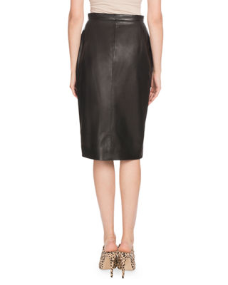 Image 2 of 2: Side-Slit Calf Leather Knee-Length Pencil Skirt