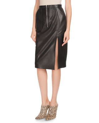 Image 1 of 2: Side-Slit Calf Leather Knee-Length Pencil Skirt