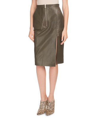 Side-Slit Calf Leather Knee-Length Pencil Skirt, Green