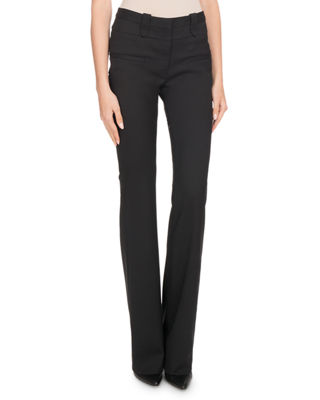 High-Waist Boot-cut Wool Pants