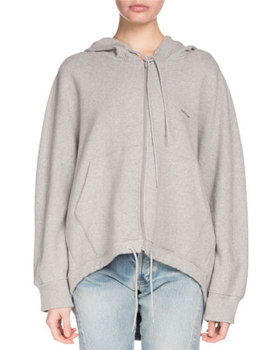 Hooded Zip-Front Cocoon Sweatshirt