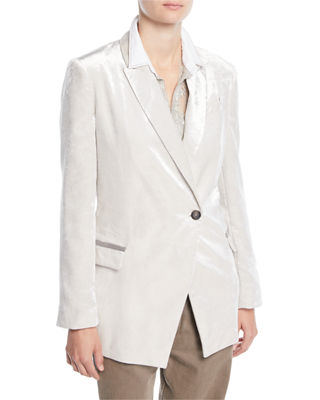 Brunello Cucinelli One-Button Velvet Blazer w/ Monili Pockets
