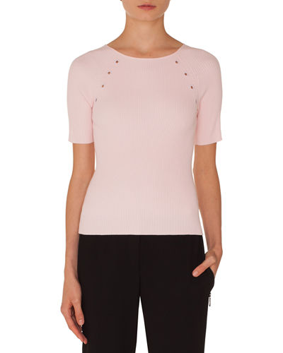 Round-Neck Short-Sleeve Cotton Knit Top w/ Eyelet Detail