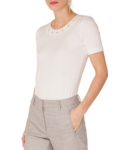 Round-Neck Short-Sleeve Tee w/ Eyelet Detail