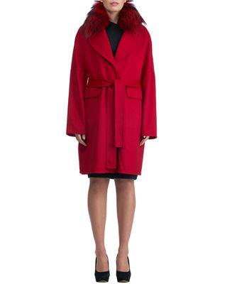 Double-Face Cashmere Short Coat w/ Fox Fur Collar