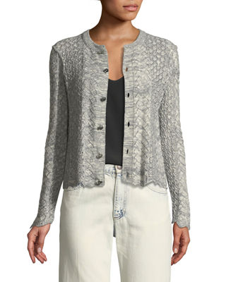 Button-Front Cross-Stitched Long-Sleeve Cashmere-Blend Cardigan, Gray