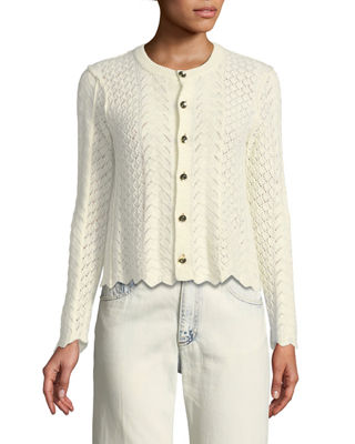 Image 4 of 4: Button-Front Cross-Stitched Long-Sleeve Cashmere-Blend Cardigan