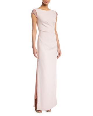 Escada Sequined Cap-Sleeve Ruched-Waist Column Crepe Evening Gown