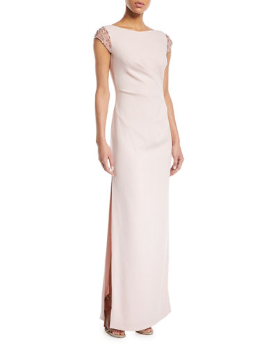 Sequined Cap-Sleeve Ruched-Waist Column Crepe Evening Gown