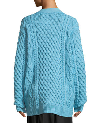 Image 2 of 3: Button-Front Chunky Cable-Knit Merino Wool Cardigan