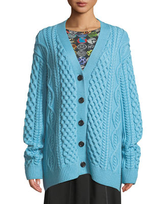 Image 3 of 3: Button-Front Chunky Cable-Knit Merino Wool Cardigan