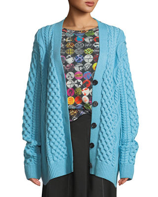 Image 1 of 3: Button-Front Chunky Cable-Knit Merino Wool Cardigan