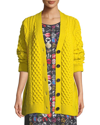 Button-Front Chunky Cable-Knit Merino Wool Cardigan, Yellow from STYLEBOP.com