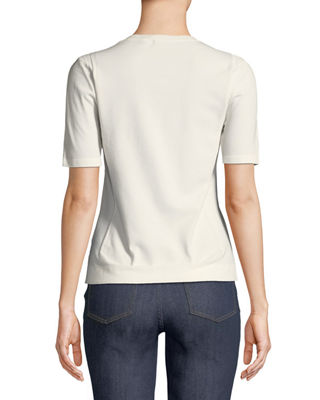 Image 2 of 3: Short-Sleeve Crewneck Pointelle Scuba Knit Top