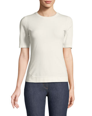 Image 1 of 3: Short-Sleeve Crewneck Pointelle Scuba Knit Top