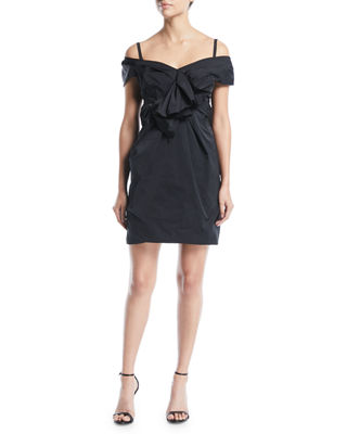 Off-The-Shoulder Gathered Mini Dress With Bow Detail, Black