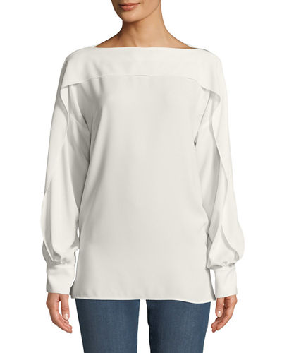 Ruffled Long-Sleeve Blouse