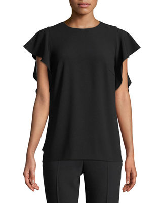 Escada Crewneck Cascade Ruffle Crepe Blouse and Matching